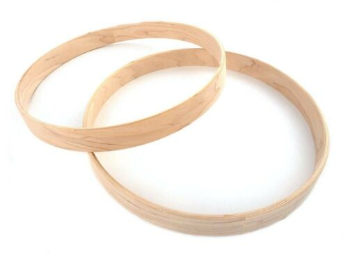 """Pair of New 14"""" 5-Ply Unfinished Maple Bass Drum Hoops"""