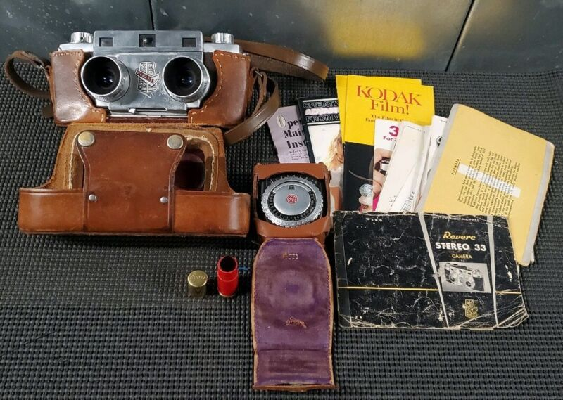 Vintage Revere Stero 33 Camera & Leather Case Plus More