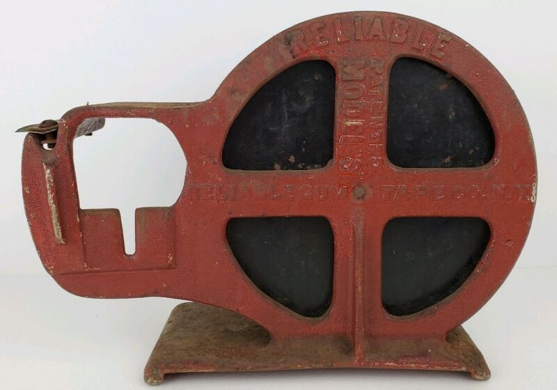 Antique Reliable Gum Tape Co. Large Industrial Cast Iron Tape Dispenser Machine