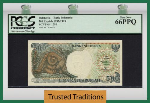 """TT PK 128d 1992/1995 INDONESIA 500 RUPIAH """"GREAT ORANGUTAN"""" PCGS 66 PPQ GEM NEW!"""