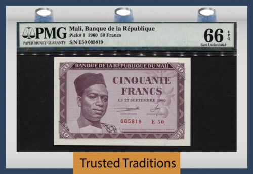 Tt Pk 1 1960 Mali 50 Francs Pmg 66 Epq Gem - 1st Note After Gaining Independence