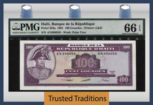 TT PK 258a 1991 HAITI BANQUE DE LA REPUBLIQUE 100 GOURDES PMG 66 EPQ GEM UNC!
