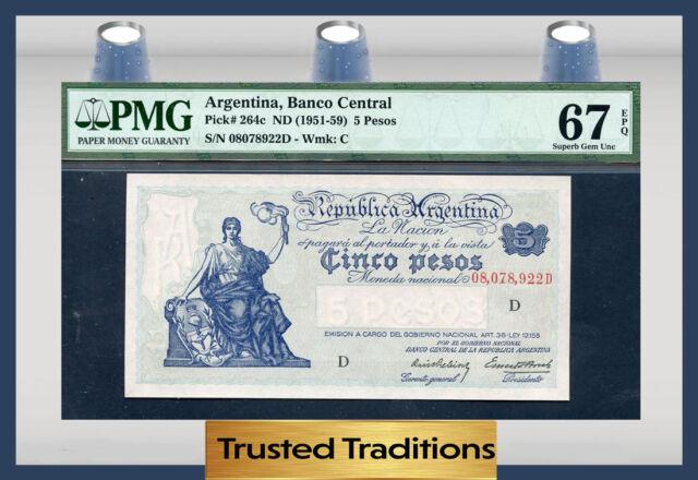 TT PK 264c 1951-59 ARGENTINA 5 PESOS PMG 67 EPQ SUPERB POP ONE FINEST KNOWN