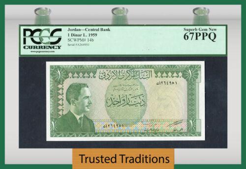TT PK 14b 1959 JORDAN CENTRAL BANK 1 DINAR PCGS 67 PPQ SUPERB GEM NEW NONE FINER