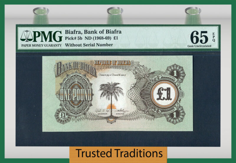 Tt Pk 5b 1968-69 Biafra 1 Pound Pmg 65 Epq Gem Without Serial Numbers!