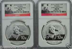 2 Coins 2014 NGC MS70 Early Releas China Panda 1 oz Silver Coin (Consec Numbers)