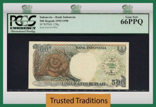 TT PK 128g 1992/1998 INDONESIA 500 RUPIAH STUNNING ORANGUTAN PCGS 66 PPQ GEM NEW