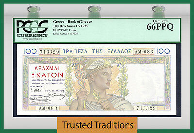 TT PK 105a 1935 GREECE 100 DRACHMAI PCGS 66 PPQ GEM NEW NONE FINER!