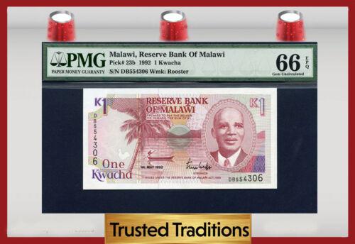 TT PK 23b 1992 MALAWI RESERVE BANK 1 KWACHA PMG 66 EPQ GEM TOP POPULATION!