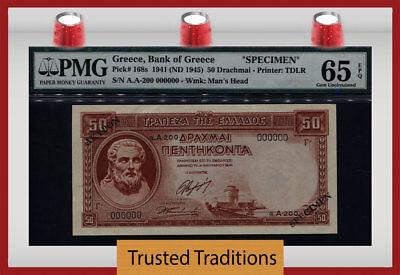 """TT PK 168s 1941 GREECE 50 DRACHMAI """"HESIOD"""" PMG 65 EPQ GEM UNC RARE NONE FINER"""