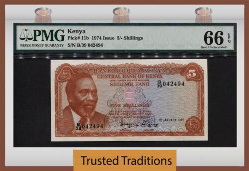 TT PK 11b 1974 KENYA 5 SHILLINGS PMG 66 EPQ GEM UNCIRCULATED POPULATION ONE