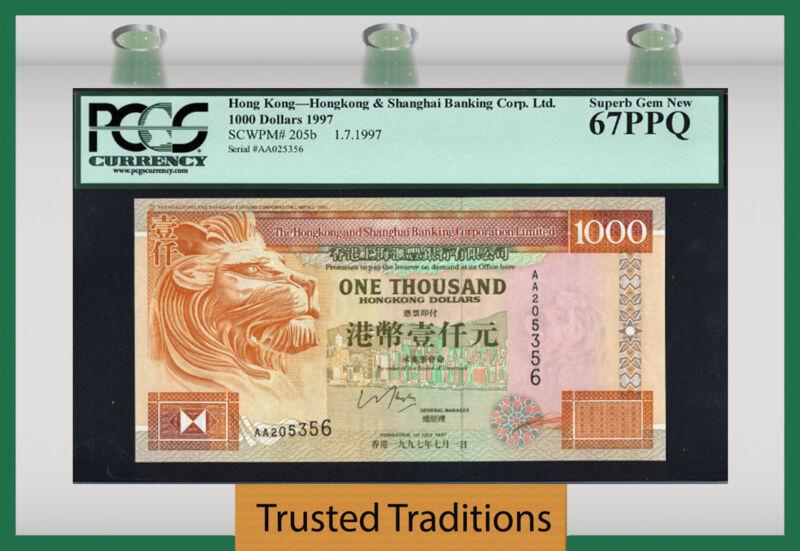 TT PK 205b 1997 HONG KONG 1000 DOLLARS IMPOSING LION PCGS 67 PPQ SUPERB GEM NEW