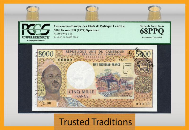 "Tt Pk 17s 1974 Cameroon 5000 Francs ""president Ahidjo"" Pcgs 68 Ppq Only Gem!"