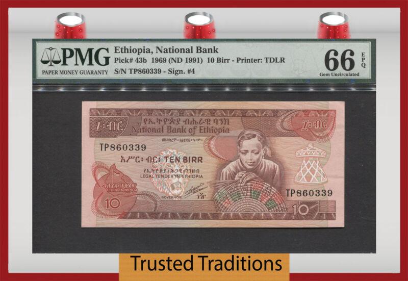 TT PK 43b 1969 ETHIOPIA 10 BIRR PMG 66 EPQ GEM UNCIRCULATED NONE FINER
