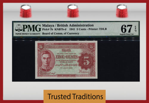 TT PK 7b 1941 MALAYA BRITISH ADMINISTRATION 5 CENTS PMG 67 EPQ SUPERB GEM UNC!!!