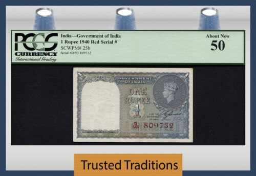 TT PK 25b 1940 INDIA 1 RUPEE SCARCE VARIETY RED SERIAL # KING GEORGE VI PCGS 50