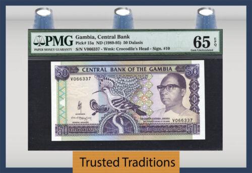 Tt Pk 15a 1989-95 Gambia 50 Dalasis Pmg 65 Epq Gem Uncirculated Pop One!
