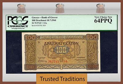 TT PK 116a 1941 GREECE GERMAN OCCUPATION WWII 100 DRACHMAII PCGS 64 PPQ