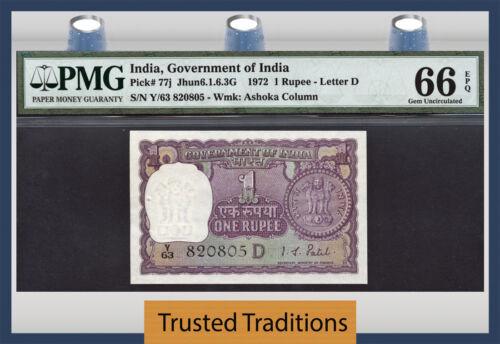 TT PK 77j 1972 INDIA 1 RUPEE PMG 66 EPQ GEM UNCIRCULATED NONE GRADED FINER!