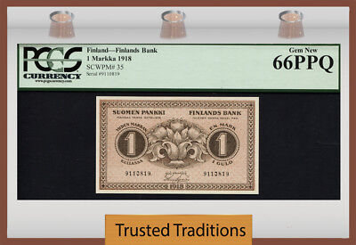 TT PK 35 1918 FINLAND 1 MARKKA TRUE RARITY IN GEM PCGS 66 PPQ GEM FINEST KNOWN