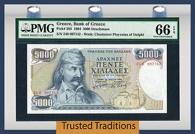 TT PK 203 1984 GREECE 5000 DRACHMAES PMG 66 EPQ GEM UNCIRCULATED