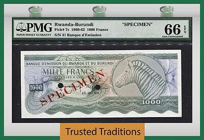Click now to see the BUY IT NOW Price! TT PK 7S 1960 62 RWANDA BURUNDI 1000 FRANCS SPECIMEN PMG 66 EPQ POPULATION ONE