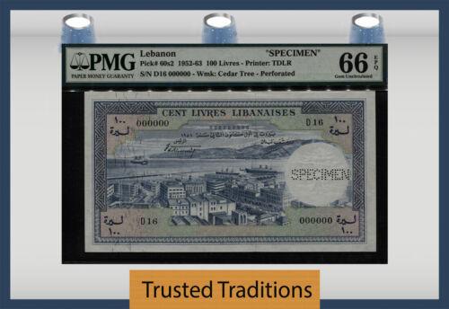 """TT PK 60s2 1952-63 LEBANON 100 LIVRES """"SPECIMEN BANKNOTE"""" PMG 66 EPQ GEM UNC!"""