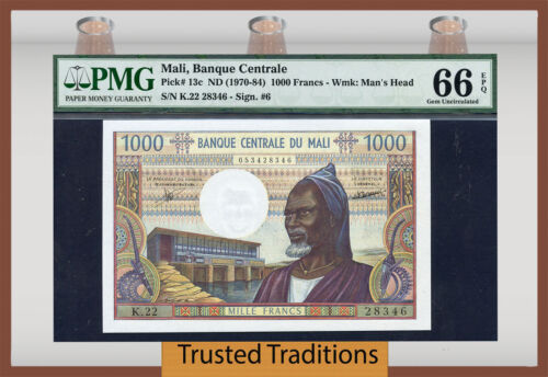 Tt Pk 13c Nd 1970-84 Mali 1000 Francs Pmg 66 Epq Gem Uncirculated Only 6 Finer!