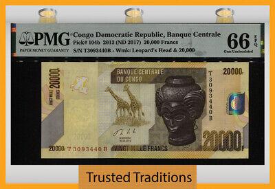TT PK 104b 2013 ND 2017 CONGO DEM REP 20000 FRANCS PMG 66 EPQ GEM UNC 1 OF 2  - $11.99