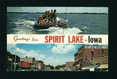 Spirit Lake Iowa C1950s 2 Pic PC, Wooden Speed Boat & Antlers Hotel, Main Street