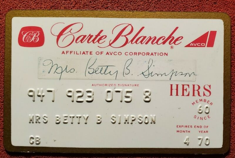 1970 Carte Blanche Hers ☆ Very Rare  ♡Free Shipping♡cc160♡