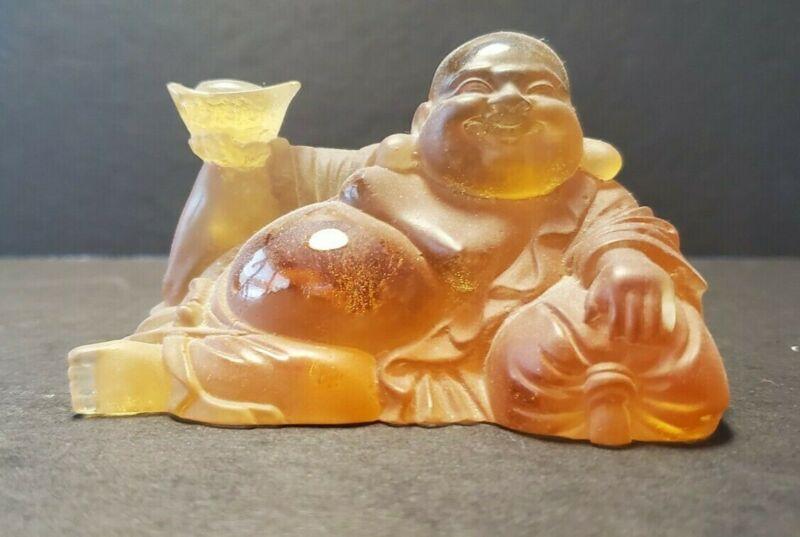 Daum Happy Buddha Sitting Buddha Amber Art Glass Crystal Made In France