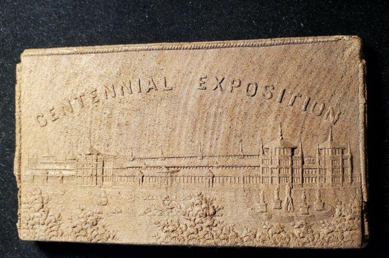 1876 PHILADELPHIA INTERNATIONAL EXHIBITION CENTENNIAL WOODEN PLAQUE w594