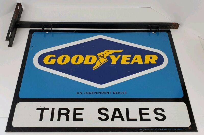 Vintage Goodyear Tire Sales Dealer Double Sided Metal Sign w/ Bracket Man Cave
