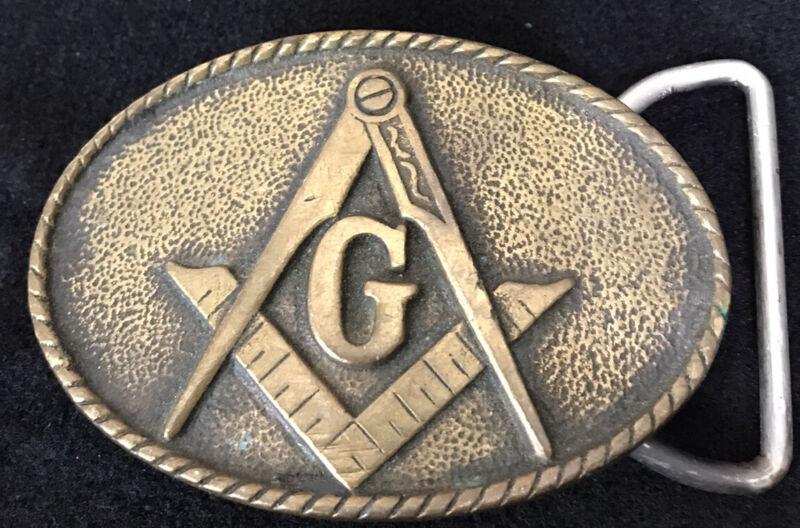 Vintage Masonic Brass Belt Buckle 1978 BTS USA