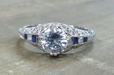 Ornate real blue sapphire and diamond 14kt white gold semi mount
