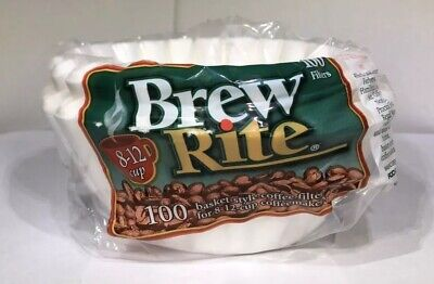 "Brew Rite 8-12 cup 100 Count Paper White 3 1/4"" Base Basket Style Coffee Filters Basket Filter Paper"