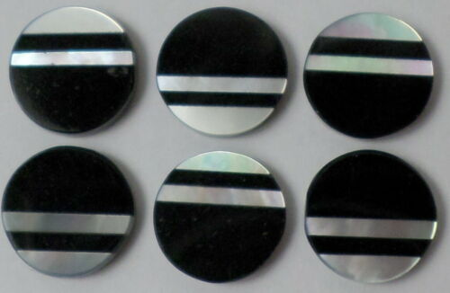 Vintage 6 of 9mm Round Button Inlaid Mother Pearl & Onyx Cabochon Cab Gemstone