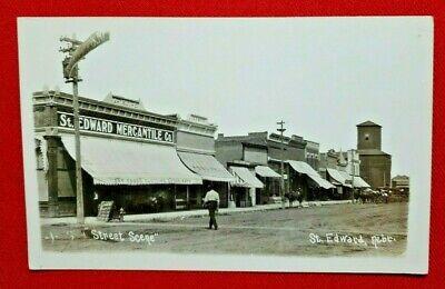 RPPC St. Edward, Nebraska - street scene w/ Mercantile Co. - unused - EXCELLENT