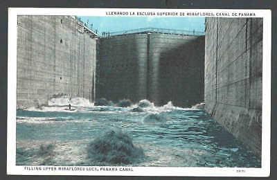 Ca 1923 PPC* Panama Canal Filling Water Miraflores Lock Mint