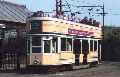 TRAM PHOTO PHOTOGRAPH OF A DOUBLE DECKER CAR PICTURE AT SEATON IN DEVON.