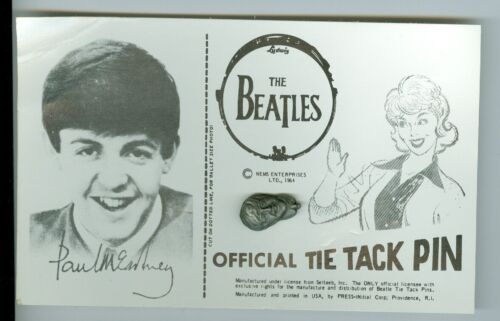 Paul McCartney The Beatles 1964 Official Tie Tack Pin on Card Nems Seltaeb Inc