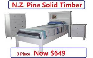 Kiz 3 Piece Suite, N.Z. Pine, SOLID TIMBER, was $699, Now $649 Salisbury Brisbane South West Preview