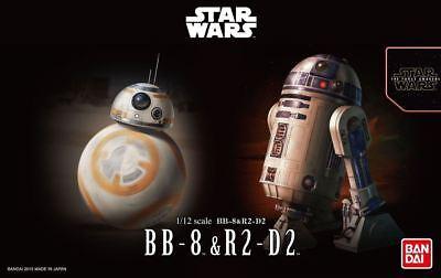 Bandai Star Wars BB-8 & R2-D2 1/12 Scale Plastic Model Kit Figure NIB - USA