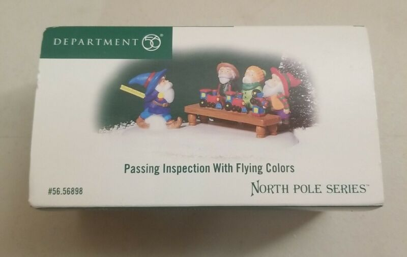 Dept 56 North Pole Passing Inspection with Flying Colors #56.56898 Elves Toys