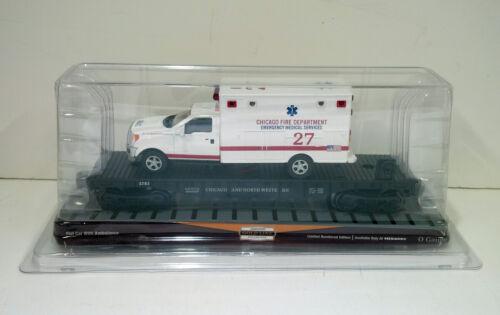 Menards - O Gauge Chicago & North Western Flatcar with Lighted Ambulance #R5