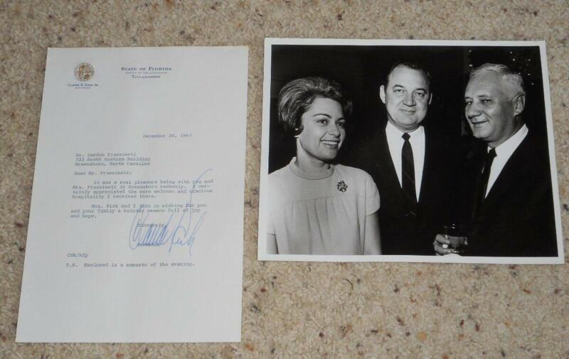 Vintage 1967 Claude Kirk Signed Letter and Photo Governor of Florida