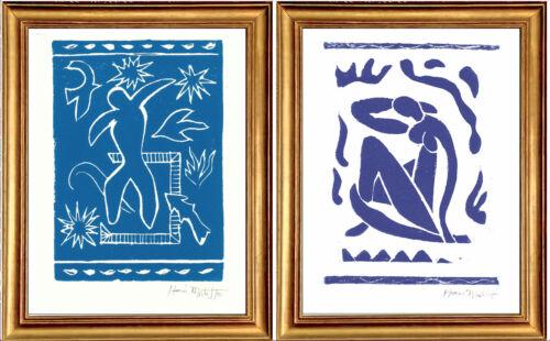 "2 Matisse Hand-Signed Ltd Ed Prints ""Joyful Man"" & ""Blue Nude"" w/COA unframed"