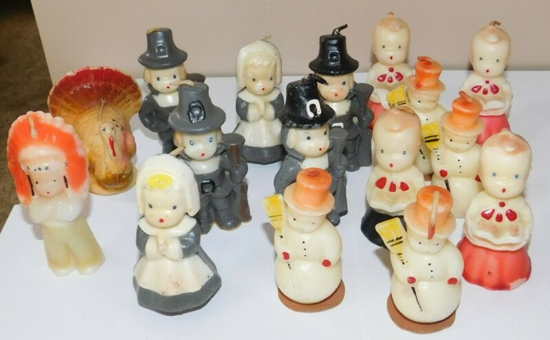 Vintage Mid Century Gurley Holiday Candle Lot Thanksgiving Christmas Pilgrim