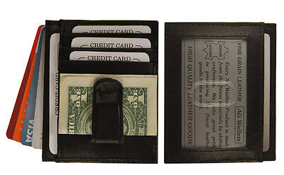 Black Money Clip - Men's Leather Slim Money Clip Front Pocket Wallet Thin Credit Card Holder New